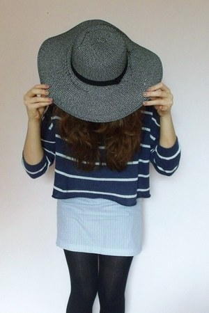 Primark hat - black knit Primark tights - H&M top - handmade skirt