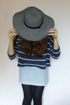 Primark hat - black knit Primark tights - H&M top - handmade skirt
