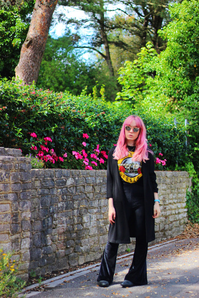 black velvet Missguided pants - black Primark jacket - black Primark t-shirt