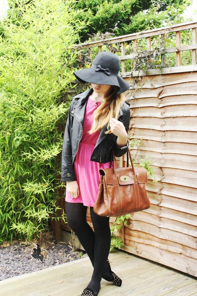 black Ebay jacket - bubble gum Primark dress - black Primark hat