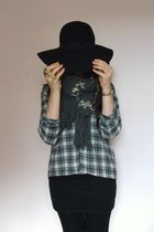 heather gray Primark shirt - black Primark hat - charcoal gray Accessorize scarf