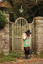 black Topshop boots - green patterned romwe dress - beige camel vintage coat