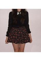 black Primark top - ruby red vintage skirt