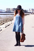 black Primark hat - sky blue pinafore denim Topshop dress