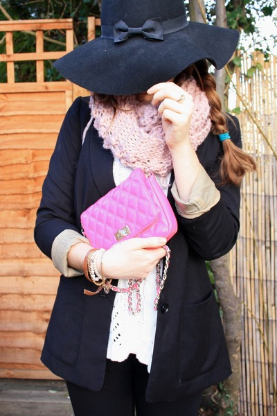 black Primark hat - black H&M blazer - hot pink River Island bag
