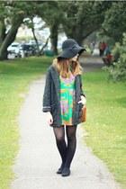 green romwe dress - charcoal gray Mango coat - black Primark hat - tan DIY bag