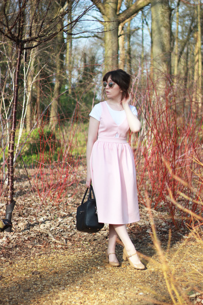 light pink asos dress - black faux leather Primark bag