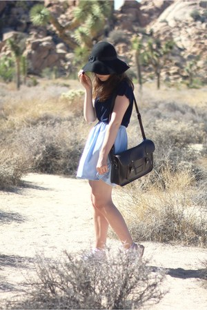 black fedora felt Primark hat - dark brown satchel leather Zatchel bag