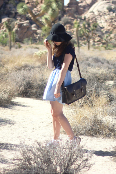 black fedora felt Primark hat - dark brown satchel leather Zatchel bag
