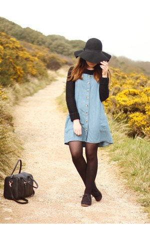 black Primark hat - light blue denim Topshop dress - black Primark bag