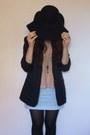 Black-primark-hat-navy-vintage-blazer-sky-blue-handmade-skirt