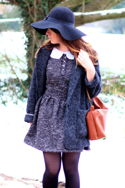 Primark hat - Primark dress - Mango via asos coat - DIY bag - asos blouse