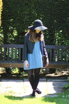 dark brown satchel leather Zatchel bag - navy polka dots DIY dress