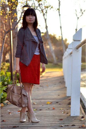 skirt - madewell jacket - striped tank Lands End Canvas top
