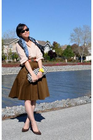 circle FCUK skirt - madewell blouse - suede D&G heels - bfw CROW watch