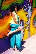 rainbow dress - UrbanOG sandals - Goodwill vest