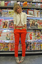 carrot orange Forever 21 pants - white lace Forever21 blazer