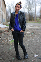 black necessary clothing boots - black Forever 21 jeans - black H&M jacket