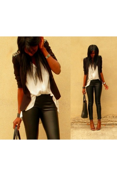 black leather New Yorker leggings