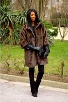dark brown faux fur Mango coat