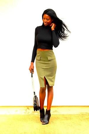 army green asos skirt