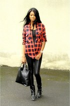 ruby red checkered Zara shirt - silver Marc by Marc Jacobs watch