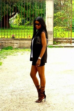 black Schutz heels