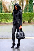 black etam jacket - black chicnova bag