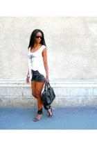 black leather shorts 3 suisses shorts