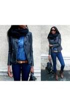 navy slim Zara jeans - black biker jacket New Yorker jacket