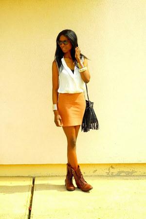 burnt orange H&M skirt