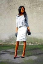 white pencil skirt Zara skirt - black pigalle Christian Louboutin heels