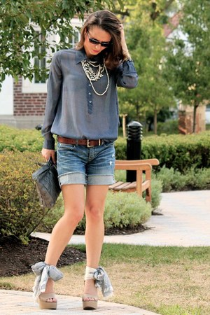 Gap wedges - Tristan shirt - vintage purse - Gap shorts