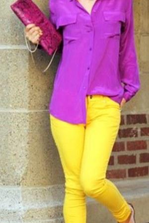 zoe and sam shirt - Zara jeans - BCBG bag