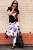 asos pants - banana republic bag - stuart weitzman flats - Mulberry t-shirt