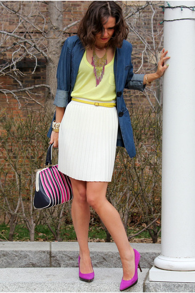 Mulberry heels - Hugo Boss bag - French Connection skirt - Old Navy top