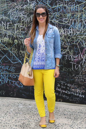 yellow Gap jeans - blue Edgars shirt - Prada sunglasses - Forever New blouse