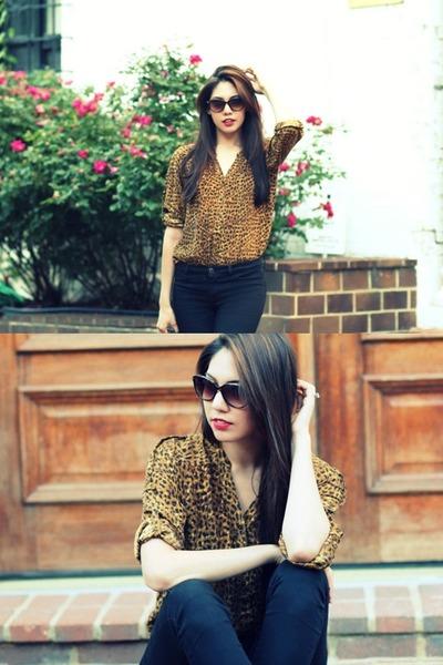 Zara blouse - black calvin klein jeans - Chloe sunglasses