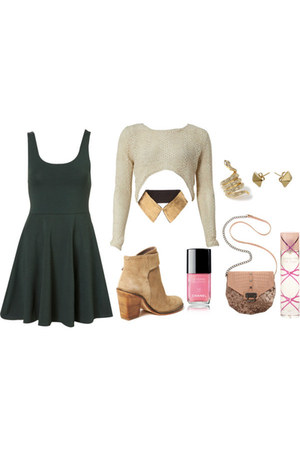ring - boots - dress - sweater - rachel roy purse - necklace
