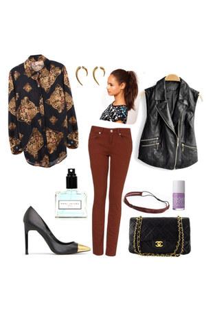Chanel bag - vest - pumps - gold earrings - blouse