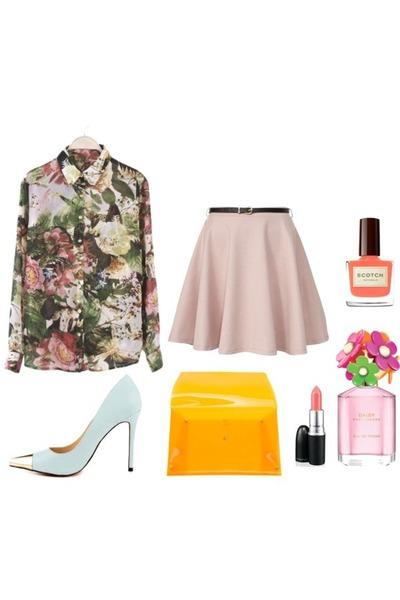 blouse - bag - gold tipped Luichiny Daz Ey heels - skater skirt