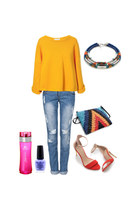 boyfriend jeans - sweater - bag - heels - necklace