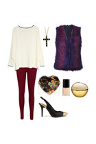 maroon jeans - purse - top - heels - burgundy-purple vest