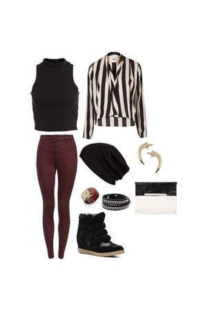 crop top Bardot Mila top - jeans - studded knit hat