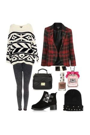 geometric print sweater - boots - jeans - hat - blazer - bag
