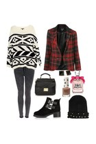 geometric print sweater - boots - jeans - hat - blazer - bag