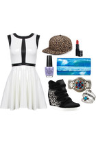 bracelet - dress - Jeremy Scott hat - bag - engraved star ring - wedges