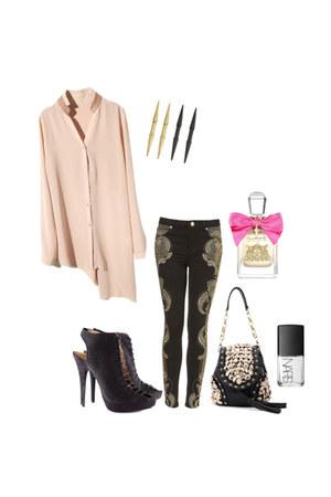 bag - denim pants - heels - chiffon blouse - earrings