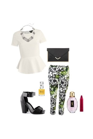 shirt - bag - green floral pants - sandals - necklace