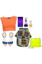 cropped shirt - bag - sandals - kente peplum skirt
